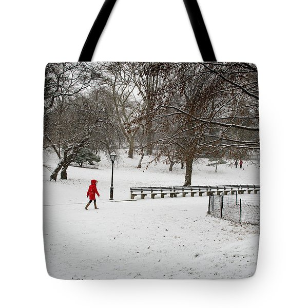 The Lady With The Red Coat Tote Bag