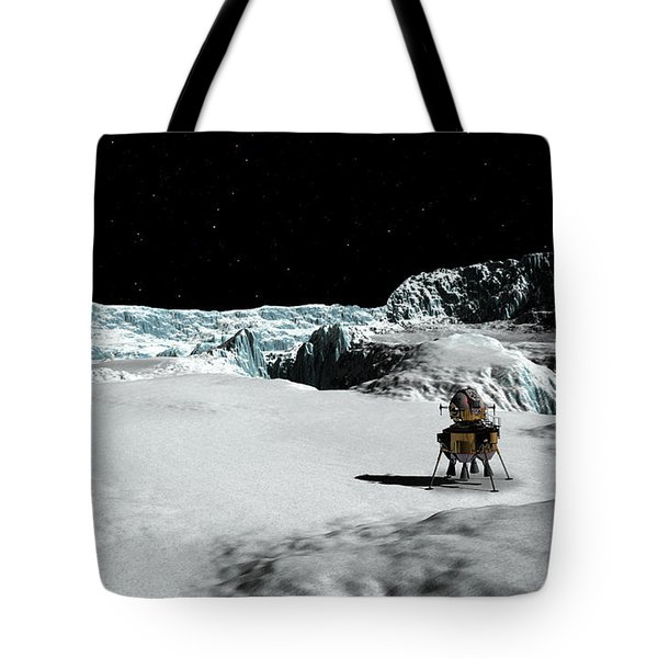 Tote Bag featuring the digital art The Lander Ulysses On Europa by David Robinson