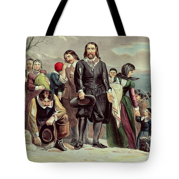 The Landing Of The Pilgrims At Plymouth Tote Bag