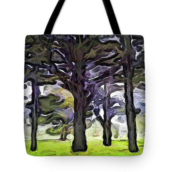 The Landscape With The Trees In A Row Tote Bag