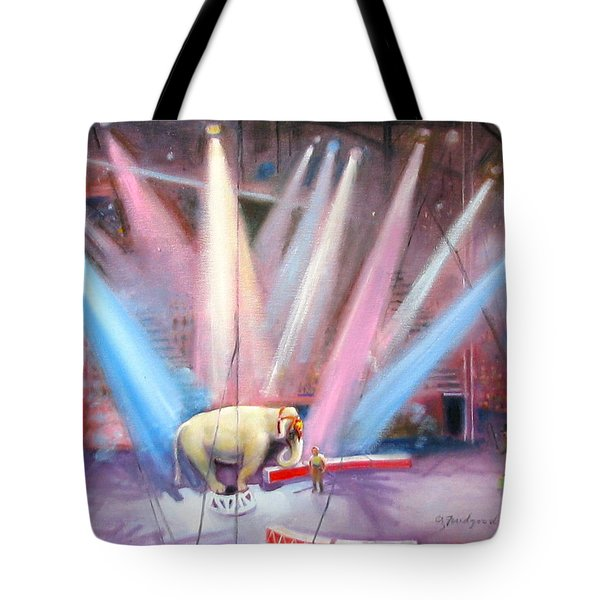 Tote Bag featuring the painting The Last Circus Elephant by Oz Freedgood