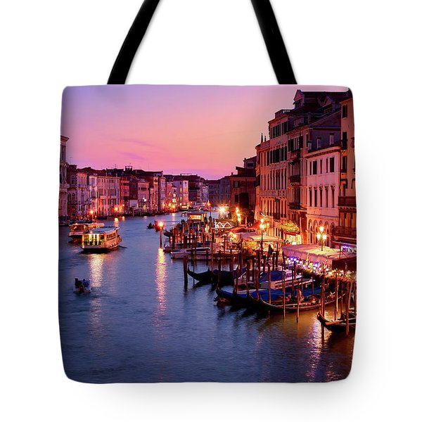 The Blue Hour From The Rialto Bridge In Venice, Italy Tote Bag