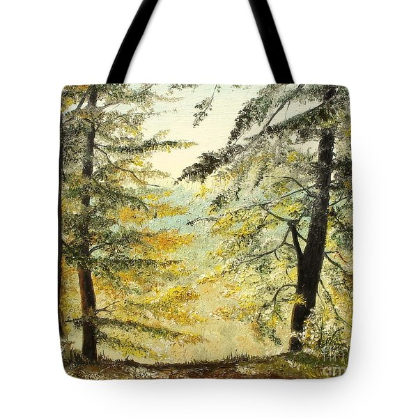 Tote Bag featuring the painting The Last Hill by Sorin Apostolescu