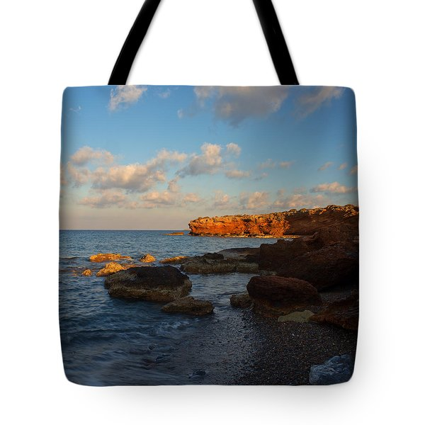 The Last Light On The Rocky Beach Tote Bag