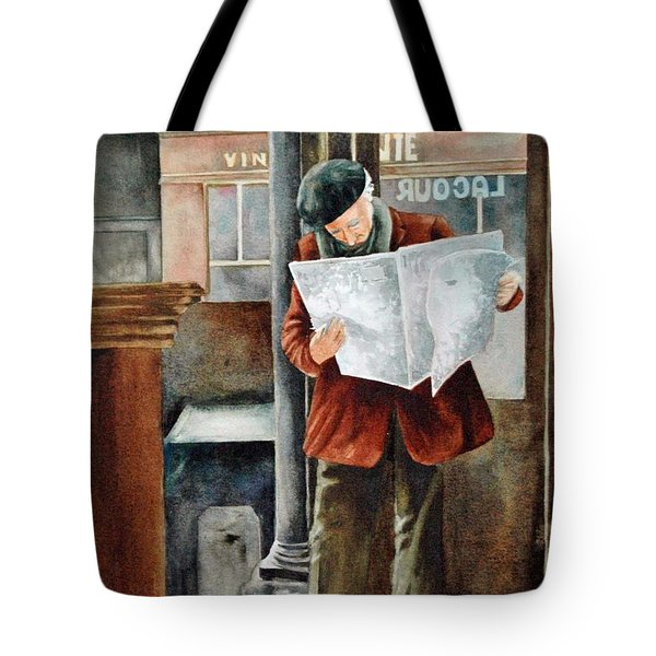 Tote Bag featuring the painting The Latest News by Diane Fujimoto