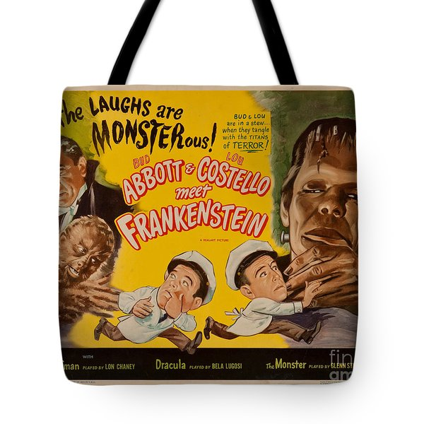 The Laughs Are Monsterous Abott An Costello Meet Frankenstein Classic Movie Poster Tote Bag by R Muirhead Art
