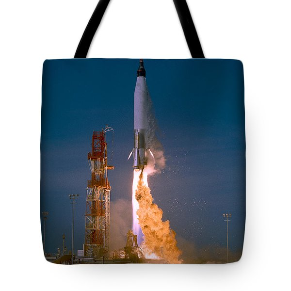 The Launch Of The Mercury Atlas Tote Bag by Stocktrek Images