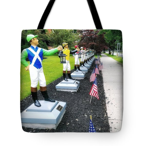 The Lawn Jockeys Of Saratoga Springs Tote Bag