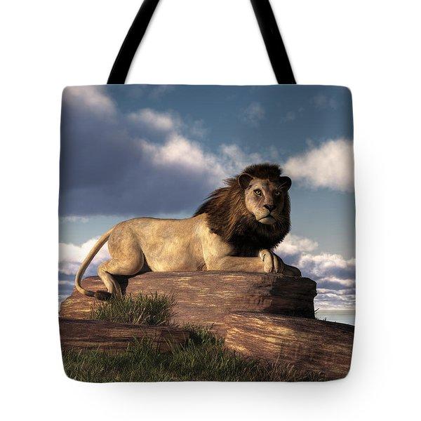 Tote Bag featuring the digital art The Lazy Lion by Daniel Eskridge
