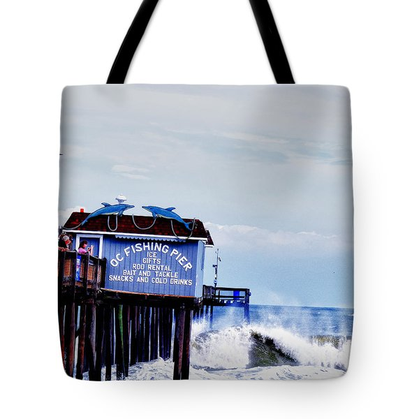 Tote Bag featuring the photograph The Leaning Pier by Kelly Reber