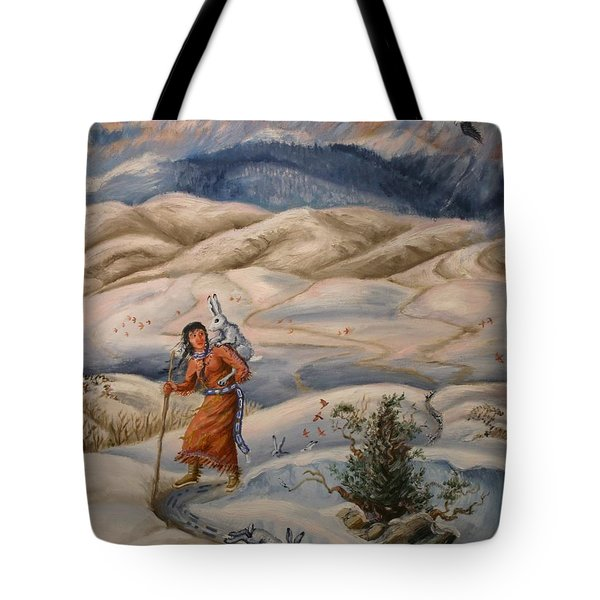Tote Bag featuring the painting The Legend Of Lame Rabbit by Dawn Senior-Trask