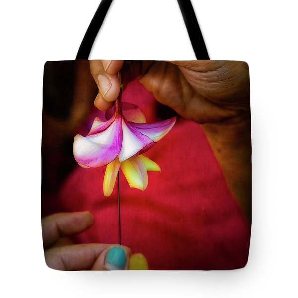 The Lei Maker's Hands Tote Bag