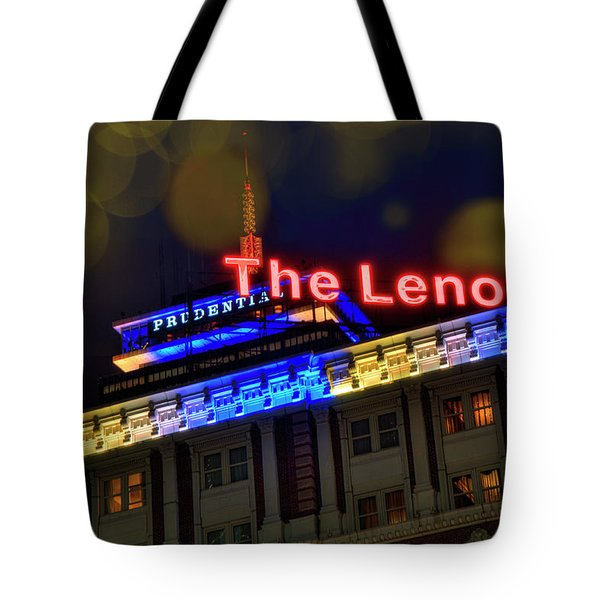 Tote Bag featuring the photograph The Lenox And The Pru - Boston Marathon Colors by Joann Vitali