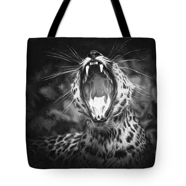 The Leopard's Tongue Rolling Roar II Tote Bag