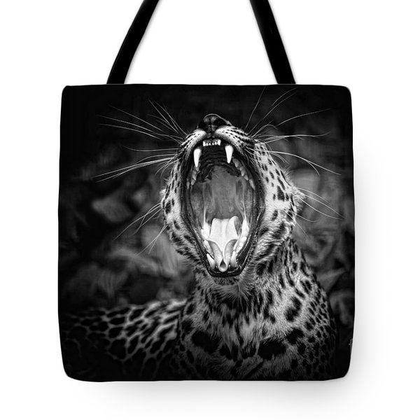 The  Leopard's Tongue Rolling Roar Tote Bag by Mary Lou Chmura