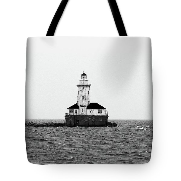 The Lighthouse Black And White Tote Bag