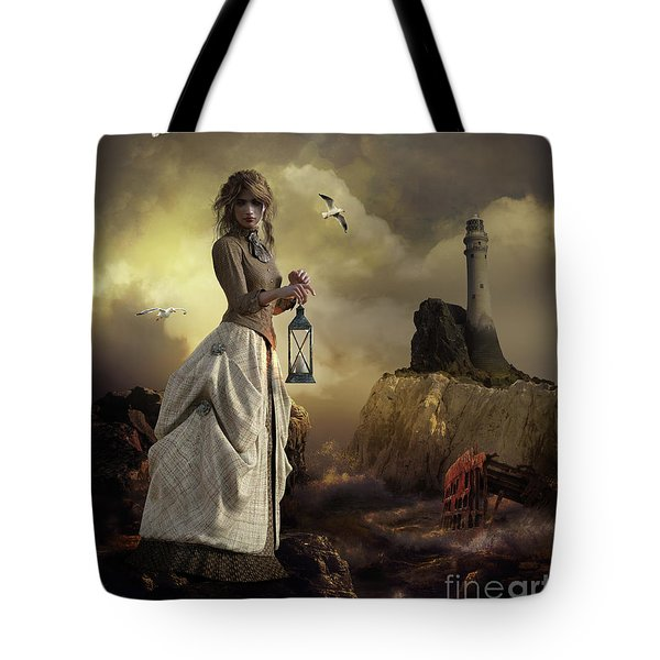 Tote Bag featuring the digital art The Lighthouse Keeper's Daughter by Shanina Conway