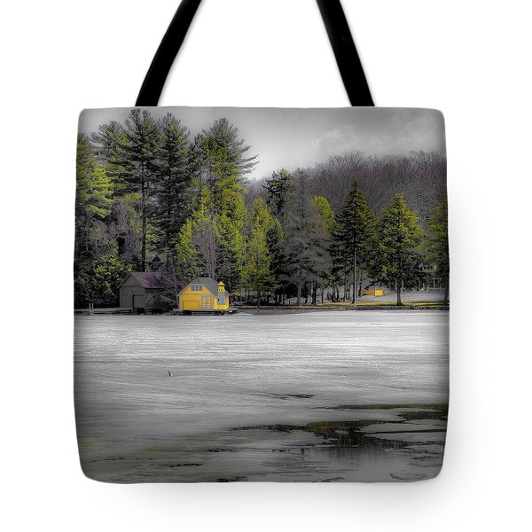 Tote Bag featuring the photograph The Lighthouse On Frozen Pond by David Patterson