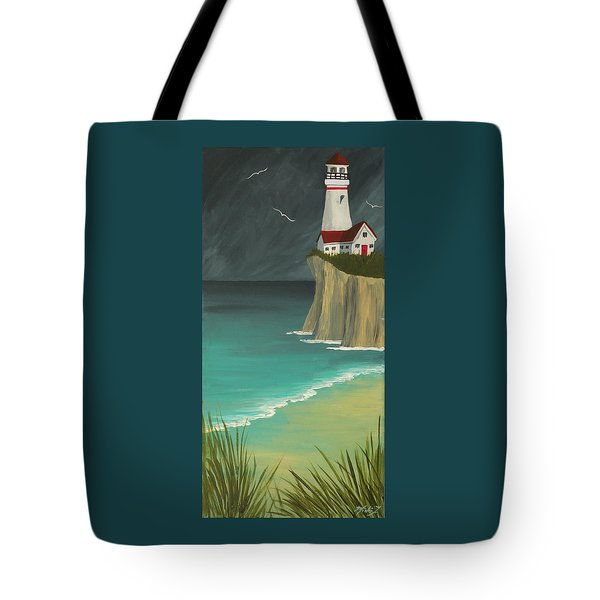 The Lighthouse On The Cliff Tote Bag