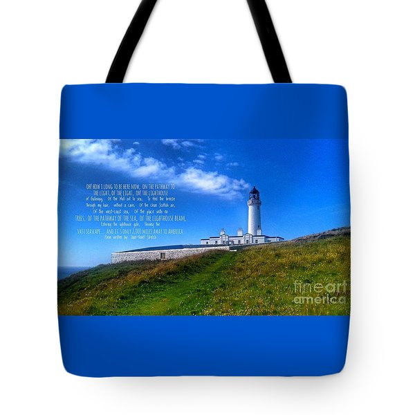 The Lighthouse On The Mull With Poem Tote Bag