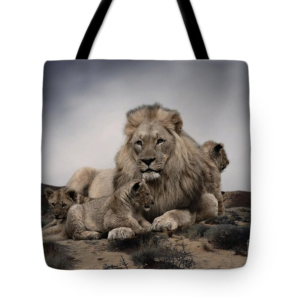 Tote Bag featuring the photograph The Lions by Christine Sponchia