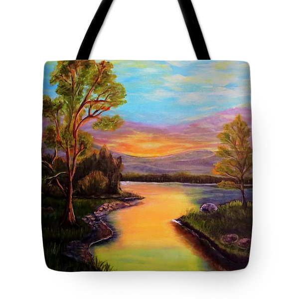 The Liquid Fire Of A Painted Golden Sunset Tote Bag