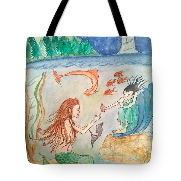 The Little Mermaid Tote Bag by Veronica Rickard