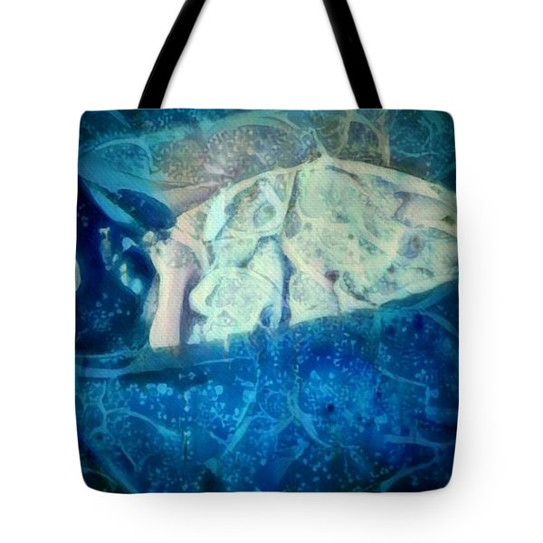 The Little Prince Floating In Box On A Sea Of Dreams With Chaotic Swirls And Waves Of Thought Hope Love And Freedom Portrait Of A Boy Sleeping In A Cardboard Box On An Ocean Of Inspiration Tote Bag by MendyZ