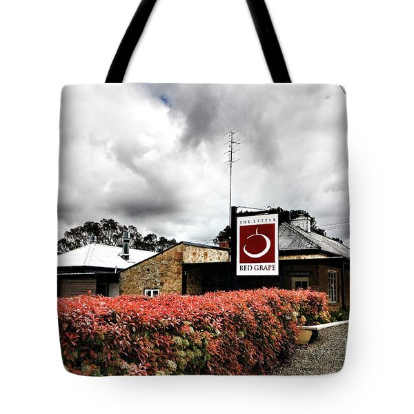 Tote Bag featuring the photograph The Little Red Grape Winery   by Douglas Barnard