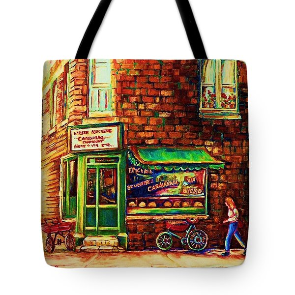 The Little Red Wagon Tote Bag by Carole Spandau
