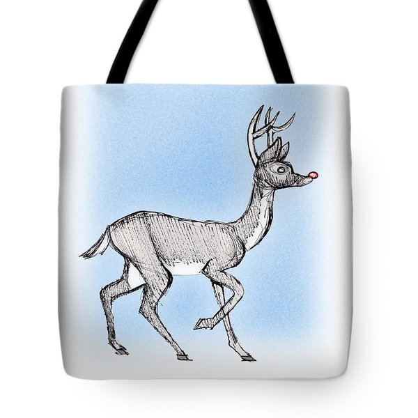 Tote Bag featuring the drawing The Little Reindeer  by Keith A Link