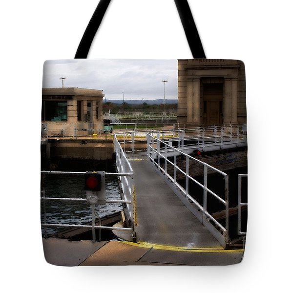 Tote Bag featuring the digital art The Locks At Sault Ste Marie Michigan by David Blank