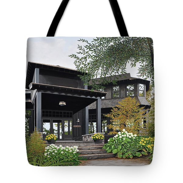 Tote Bag featuring the painting The Lodge At Fawn Island by Kenneth M Kirsch