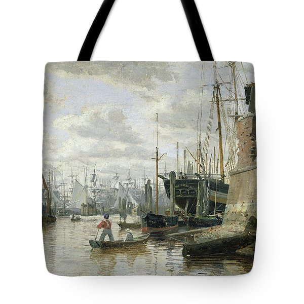 The Log Cabin At Hamburg Harbour Tote Bag by Valentin Ruths