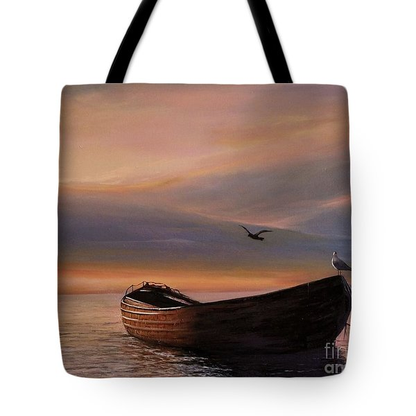 Tote Bag featuring the painting A Lone Boat by Rosario Piazza