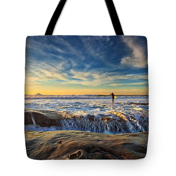 The Lone Surfer Tote Bag