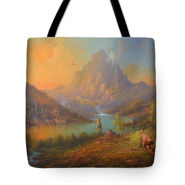 The Lonely Mountain Smaug Tote Bag by Joe  Gilronan