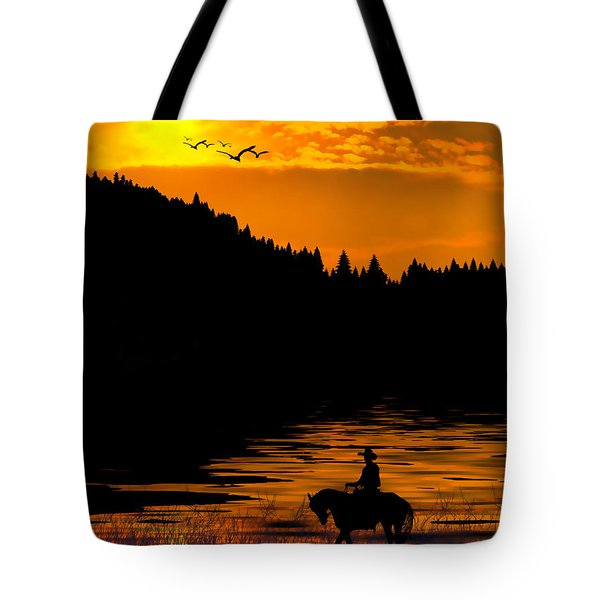 Tote Bag featuring the photograph The Lonesome Cowboy by Diane Schuster