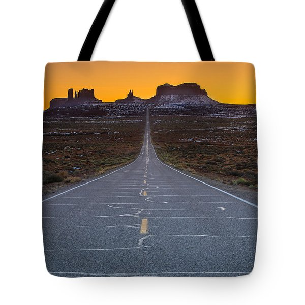 The Long Road To Monument Valley Tote Bag
