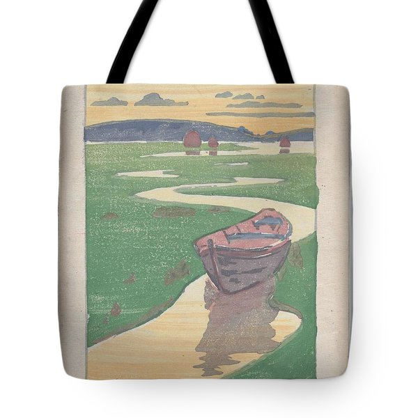 Tote Bag featuring the painting The Lost Boat , Arthur Wesley Dow by Artistic Panda