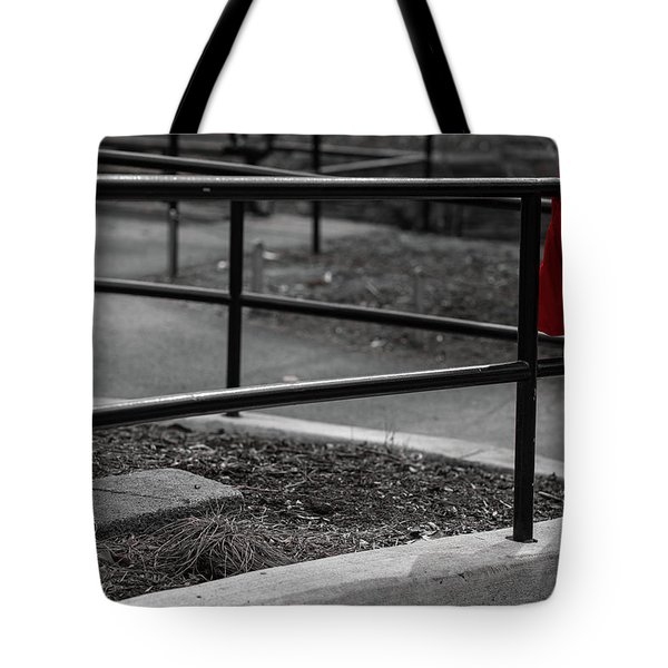 Tote Bag featuring the photograph The Lost Red Jacket by Dennis Dame