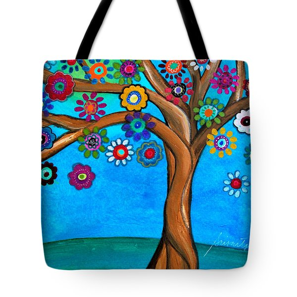 Tote Bag featuring the painting The Loving Tree Of Life by Pristine Cartera Turkus