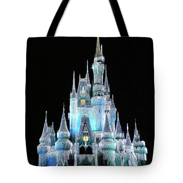 The Magic Kingdom Castle In Frosty Light Blue Walt Disney World Mp Tote Bag by Thomas Woolworth
