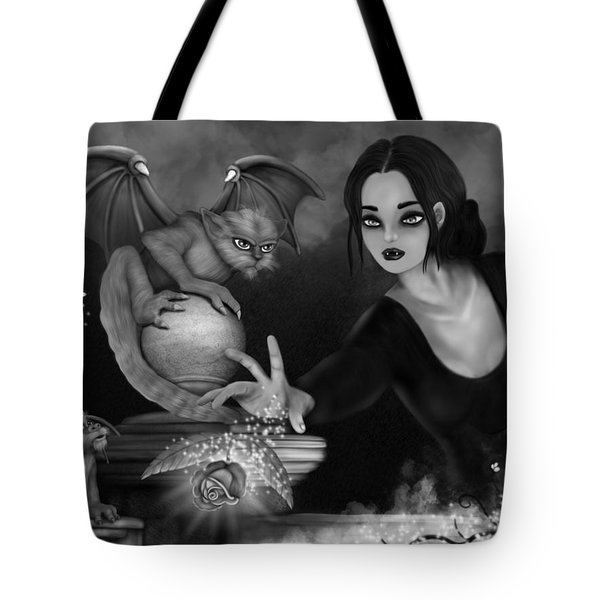 The Magic Rose - Black And White Fantasy Art Tote Bag