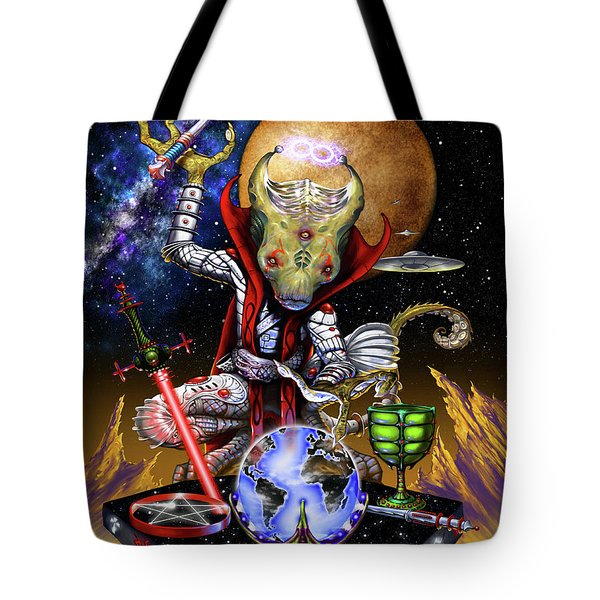 Tote Bag featuring the digital art The Magician 78 Tarot Astral Card by Stanley Morrison
