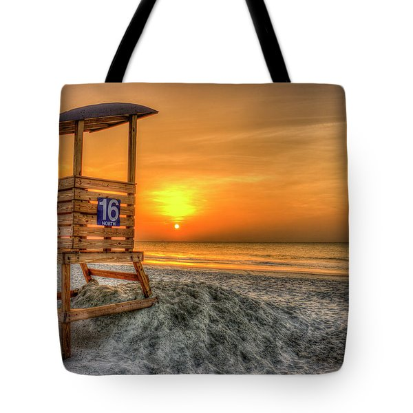 Tote Bag featuring the photograph The Main Attraction Tybee Island Sunrise Lifeguard Stand Beach Art by Reid Callaway