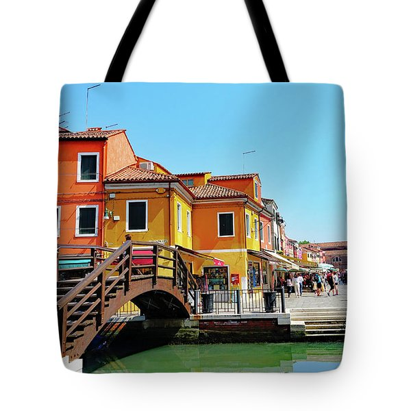 The Main Street On The Island Of Burano, Italy Tote Bag