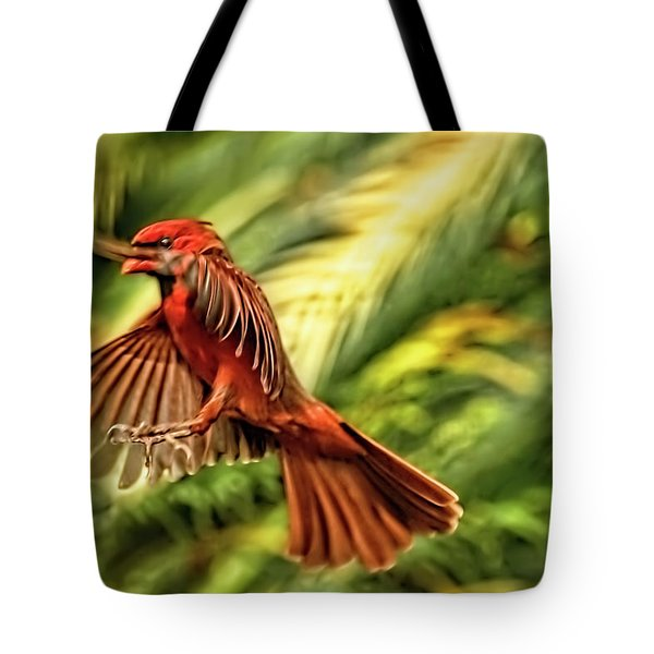 The Male Cardinal Approaches Tote Bag
