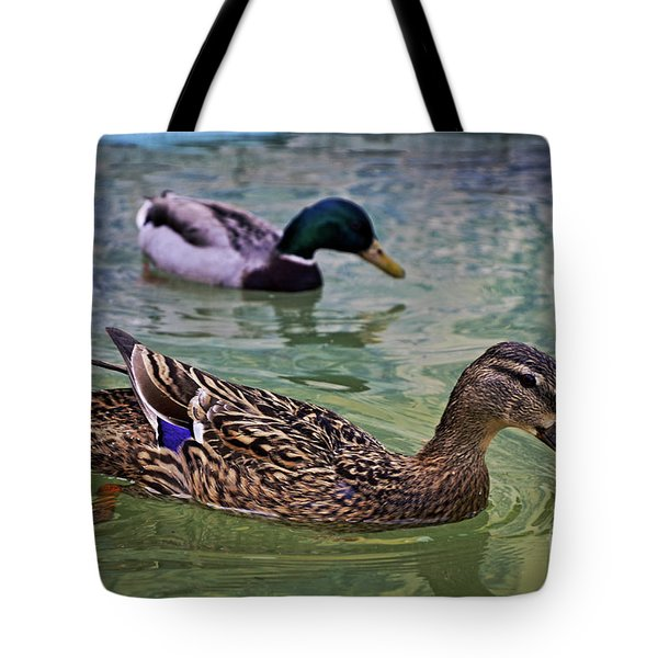 Tote Bag featuring the photograph The Mallard Pair by Mary Machare
