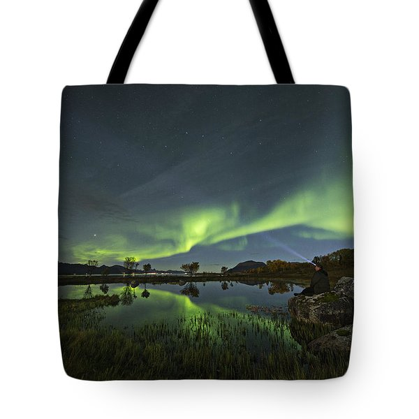 The Man Under The Aurora Sky Tote Bag